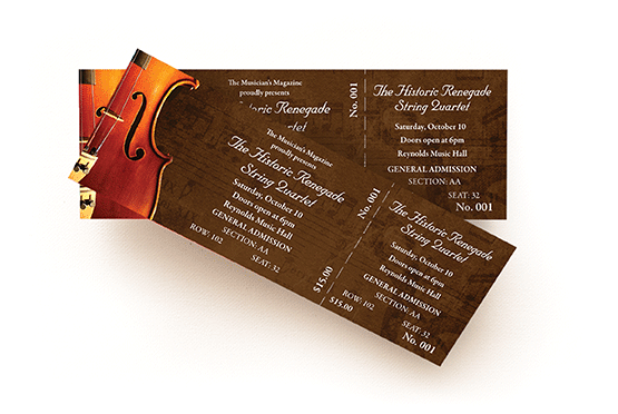Custom printed tickets available