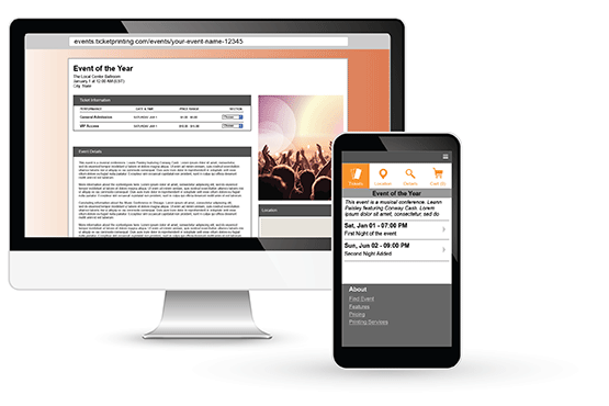 Event pages display on PCs and mobile devices