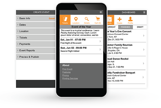 Event pages and management tools work on mobile devices